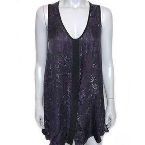 {rag & bone} purple & black silk top